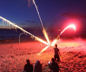 beach, fireworks, and night image