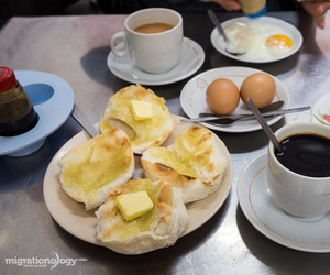breakfast, bun, and coffee image