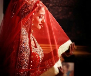 bride, fashoin, and red image