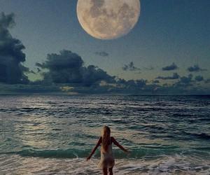 moon, girl, and sea image