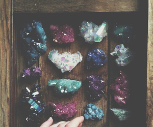 blue, crystals, and hand image