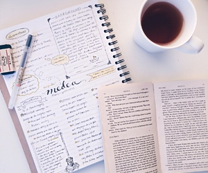 books, calligraphy, and coffee image
