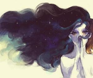 art, hair, and drawing image