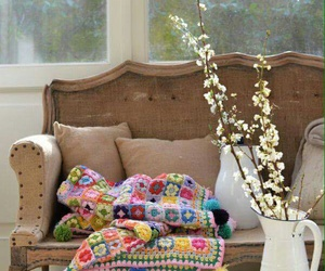 antique furniture, bench, and quilt image