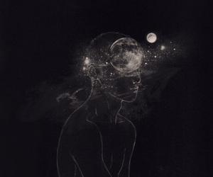 moon, art, and stars image