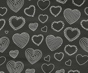 black, hearts, and pattern image