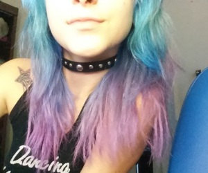 blue hair, girl, and pale hair image