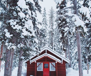 cabin, house, and red image