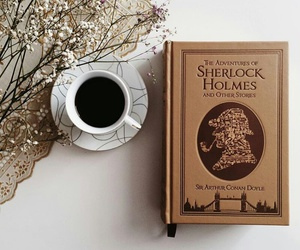 book, coffee, and sherlock holmes image