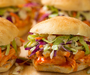 coleslaw, blue cheese, and sliders image