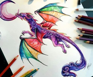 dragon, art, and colors image