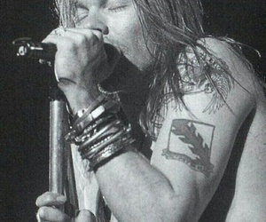 axl rose, black&white, and rose image