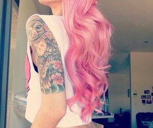 tattoo, hair, and pink image