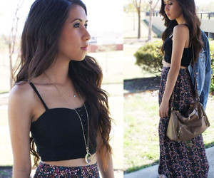 black, floral, and forever 21 image