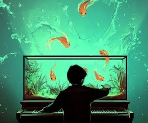 art, fish, and vintage image
