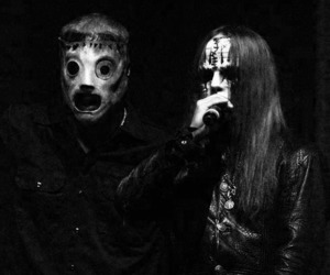 slipknot, black & white, and drummer image
