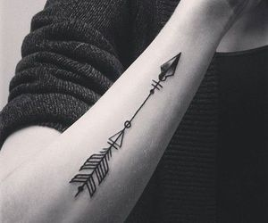 arrow, black and white, and tattoo image
