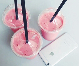 pink, iphone, and drink image