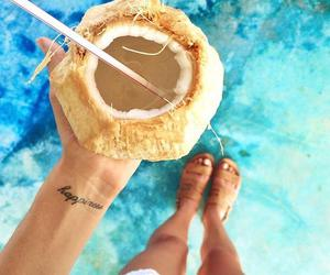 summer, coconut, and happiness image