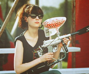 zooey deschanel and paintball image