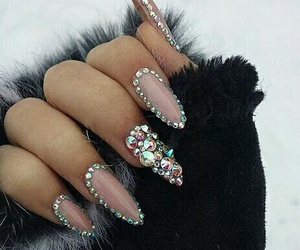 nails, pink, and diamond image