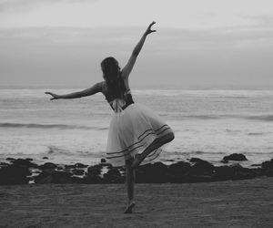 beach, dance, and black and white image