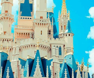 castle, disney, and blue image