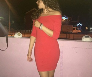 dress, red, and curlyhair image