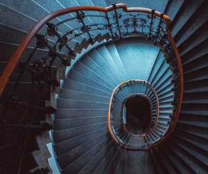 stairs, blue, and architecture image