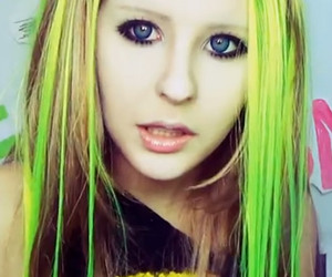 Avril Lavigne, yellow hair, and green hair image