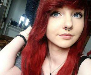 piercing, hair, and red hair image