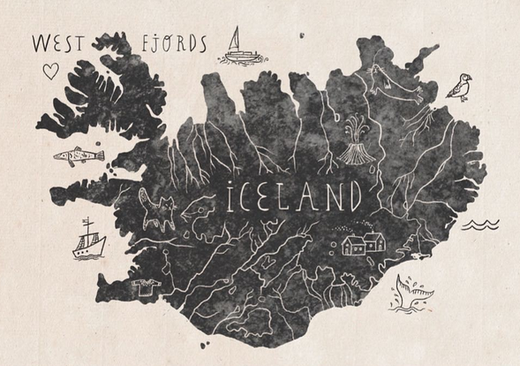 iceland and map image