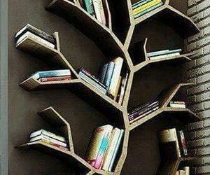 book, tree, and bookshelf image