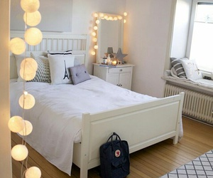 bed, decor, and light image