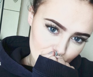 blue eyes, eyebrows, and girl image