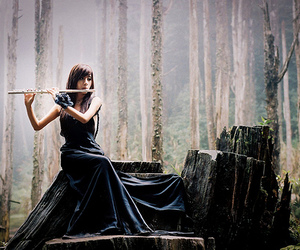flute, forest, and magical image