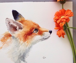 flowers, art, and fox image