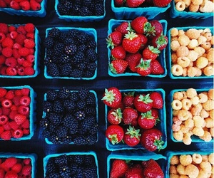 fruit, raspberry, and strawberry image