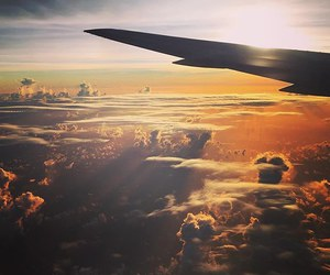 clouds, airplane, and beautiful image