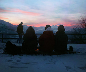friends, winter, and mountains image