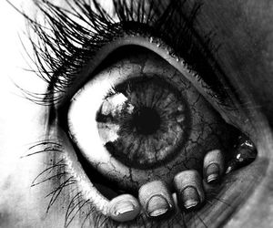 eye, black and white, and eyes image
