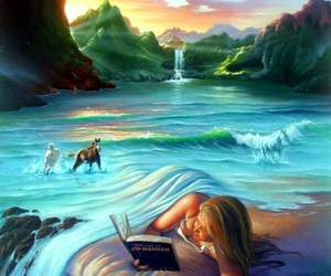 horse, book, and water image