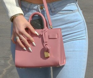 bag, jeans, and pink image