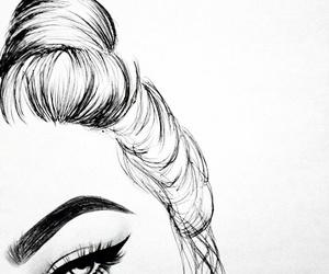art, bun, and girl image