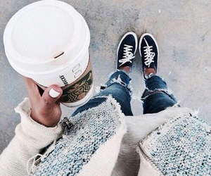 fashion, starbucks, and style image