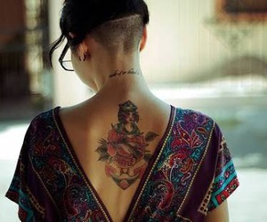 tattoo, hair, and undercut image