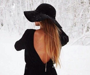 black, hair, and hat image
