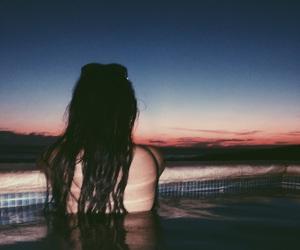 beach, girl, and pool image