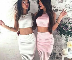 beauty, best friends, and dresses image