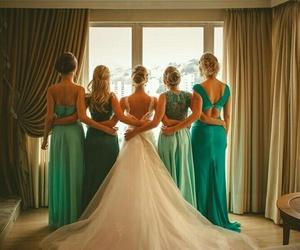 bride, marriage, and bridesmaids image